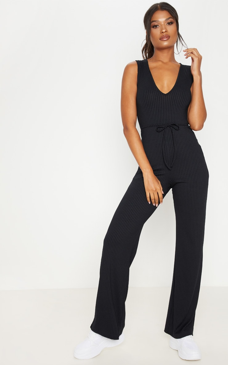 Black Ribbed Tie Waist Wide Leg Jumpsuit 4