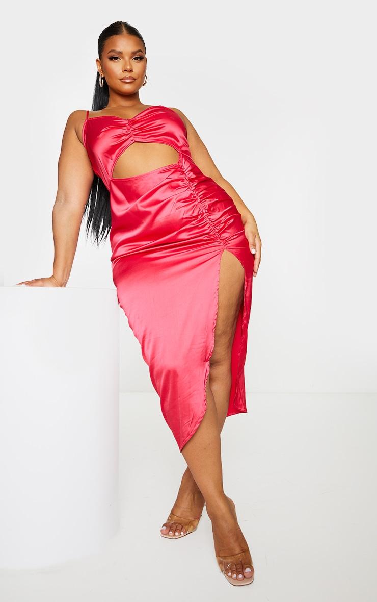 Plus Fuchsia Satin Cut Out Ruched Midaxi Dress 1