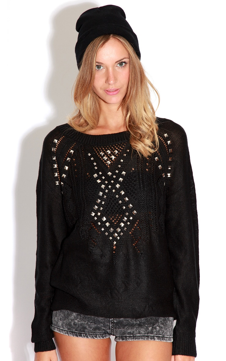 Roxie Black Knitted Stud Jumper 4