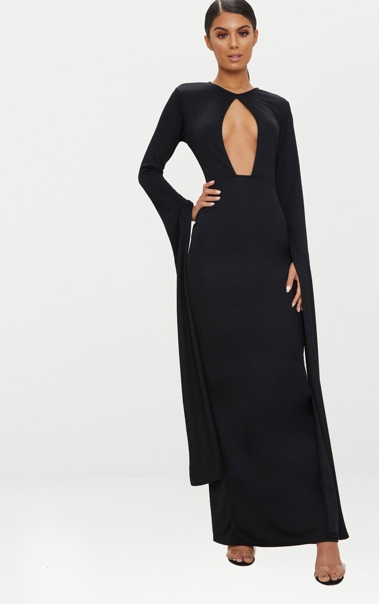Black Cut Out Detail Drape Sleeve Maxi Dress 1
