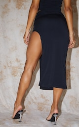 Recycled Black Contour Jersey Curved Hem Midaxi Skirt 3