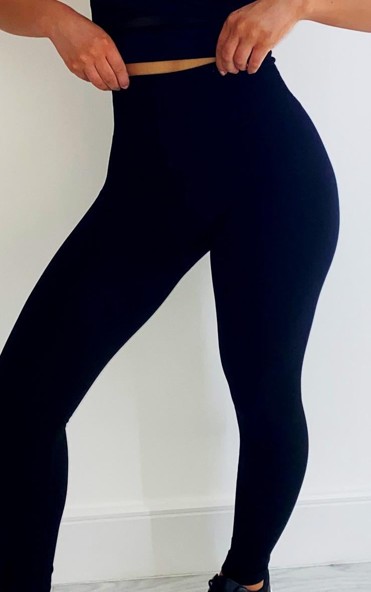 Black Textured Seamless High Waist Gym Leggings 4