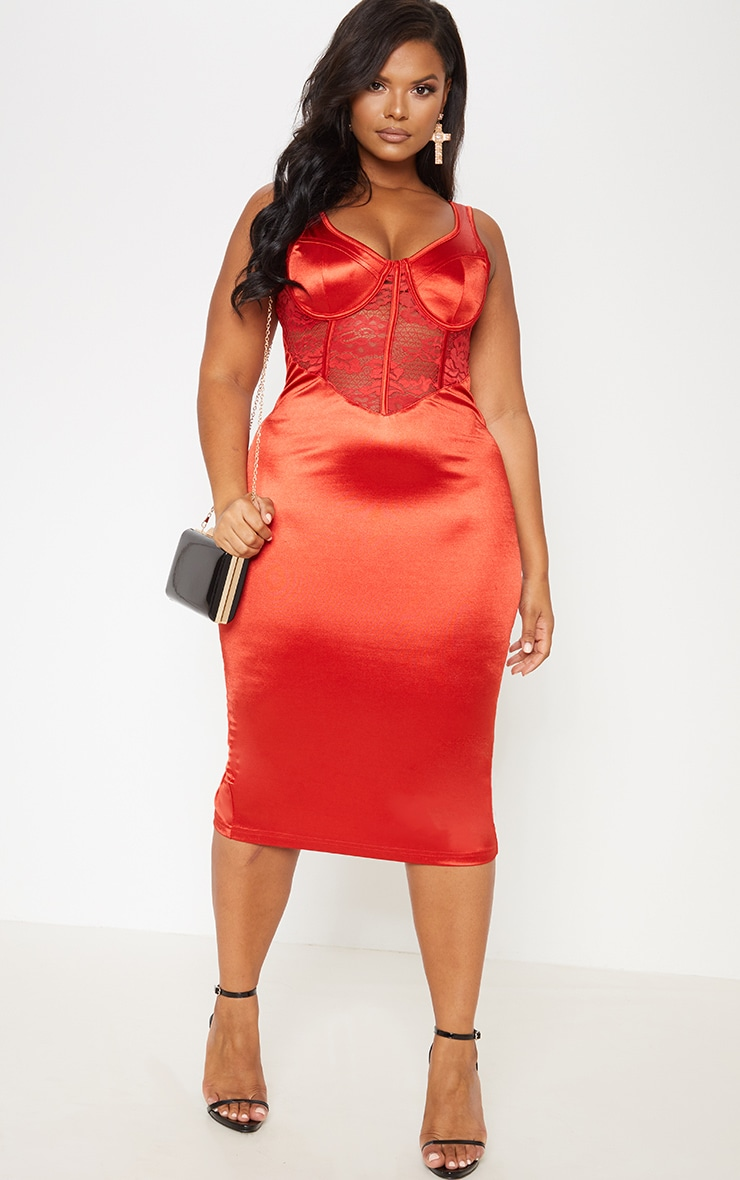 Red Satin Bustier Lace Insert Midi Dress 2