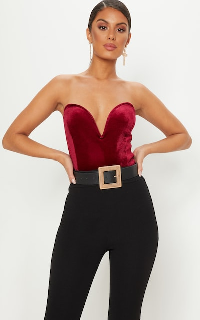 Burgundy Velvet Deep Plunge Bodysuit