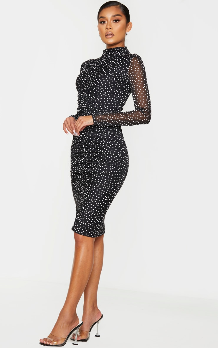 Black Polka Dot Print Ruched Mesh Midi Dress 3