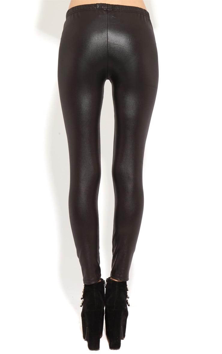 Lily Black Leather Slash Leggings 2