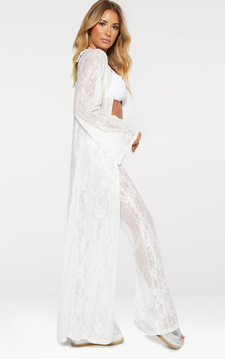 White Lace Insert Beach Kimono 3