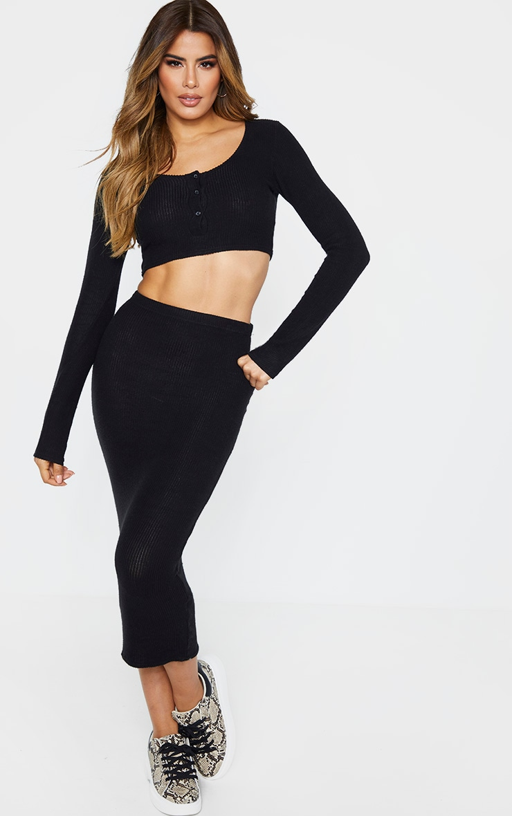 Tall Black Brush Rib Long Sleeve Crop Top 4