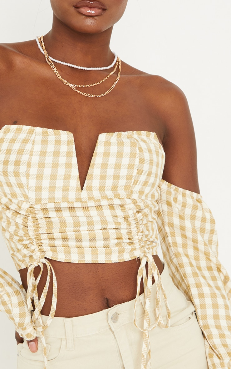 Tall Stone Ruched Front Gingham Bardot Cropped Blouse 4