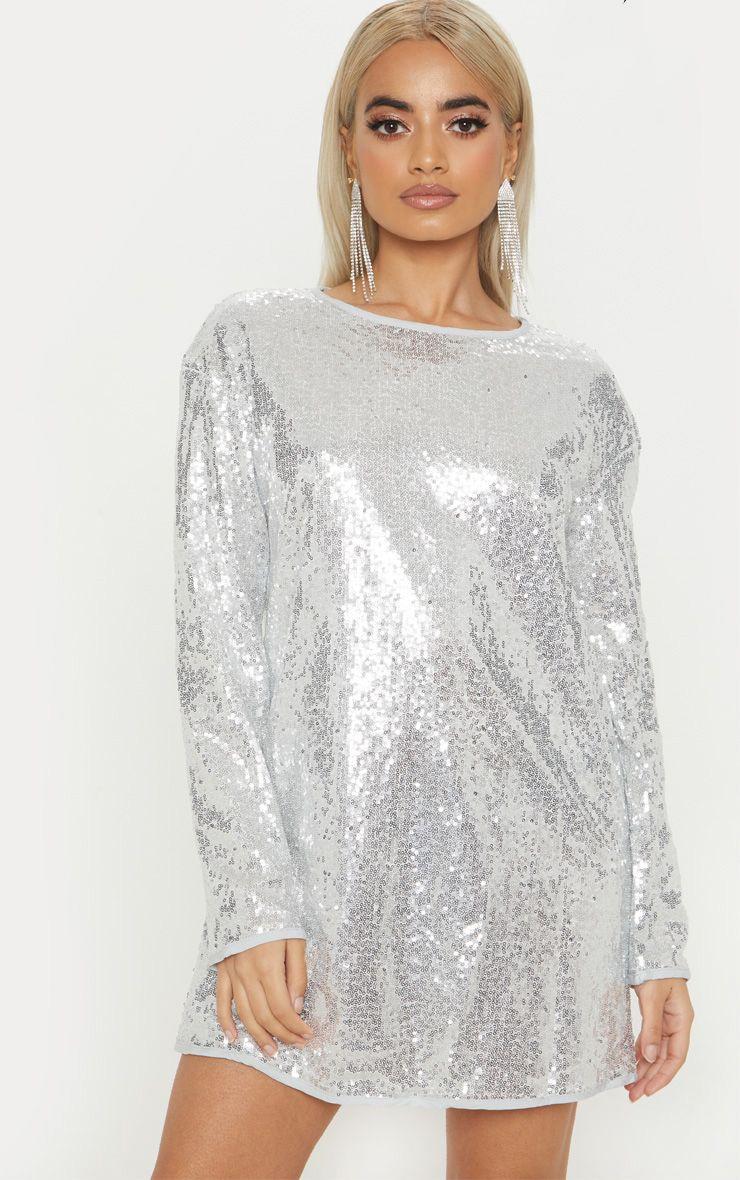 fe0d5671 Petite Silver Sequin Long Shift Dress | PrettyLittleThing