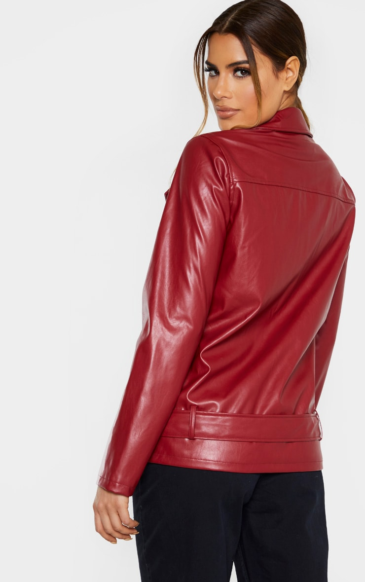 Tall Burgundy Oversized Longline PU Biker Jacket  2