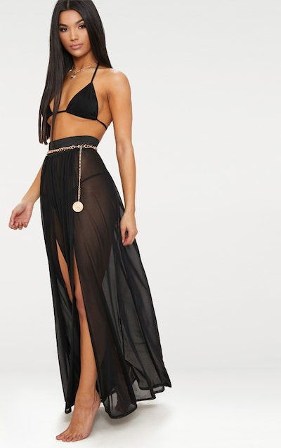 Minah Black Mesh Maxi Skirt