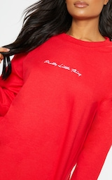 PRETTYLITTLETHING Red Embroidered Oversized Sweatshirt 5