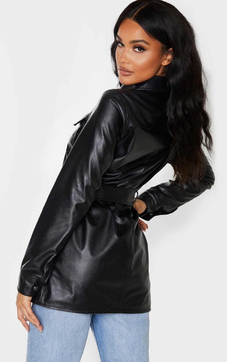 Black PU Utility Belted Pocket Jacket 2