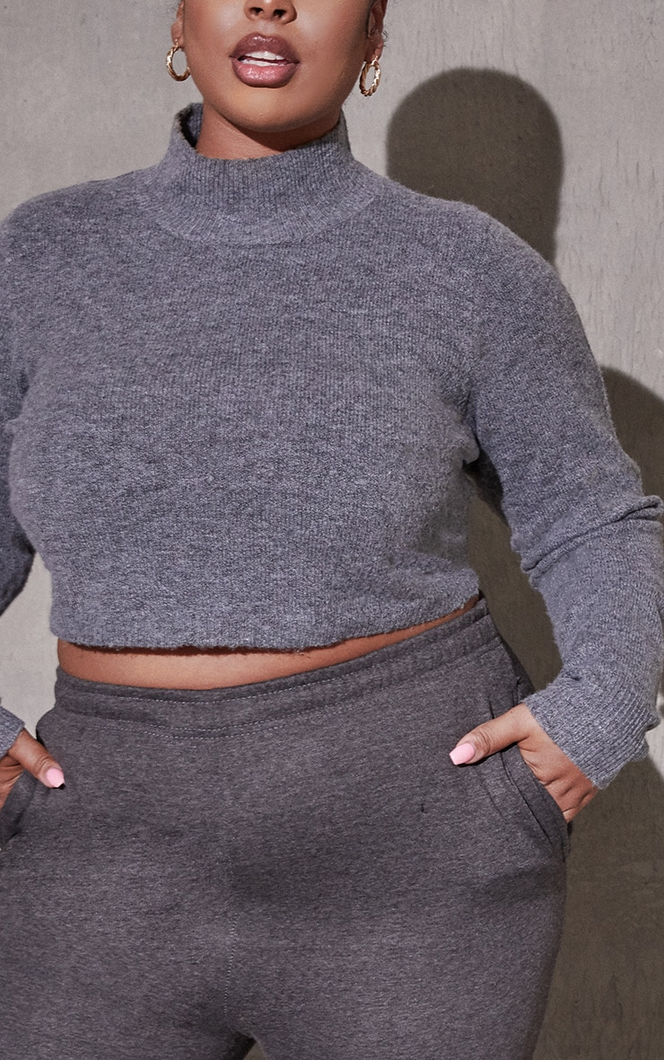 Plus Charcoal Recycled Funnel Neck Crop Jumper 4