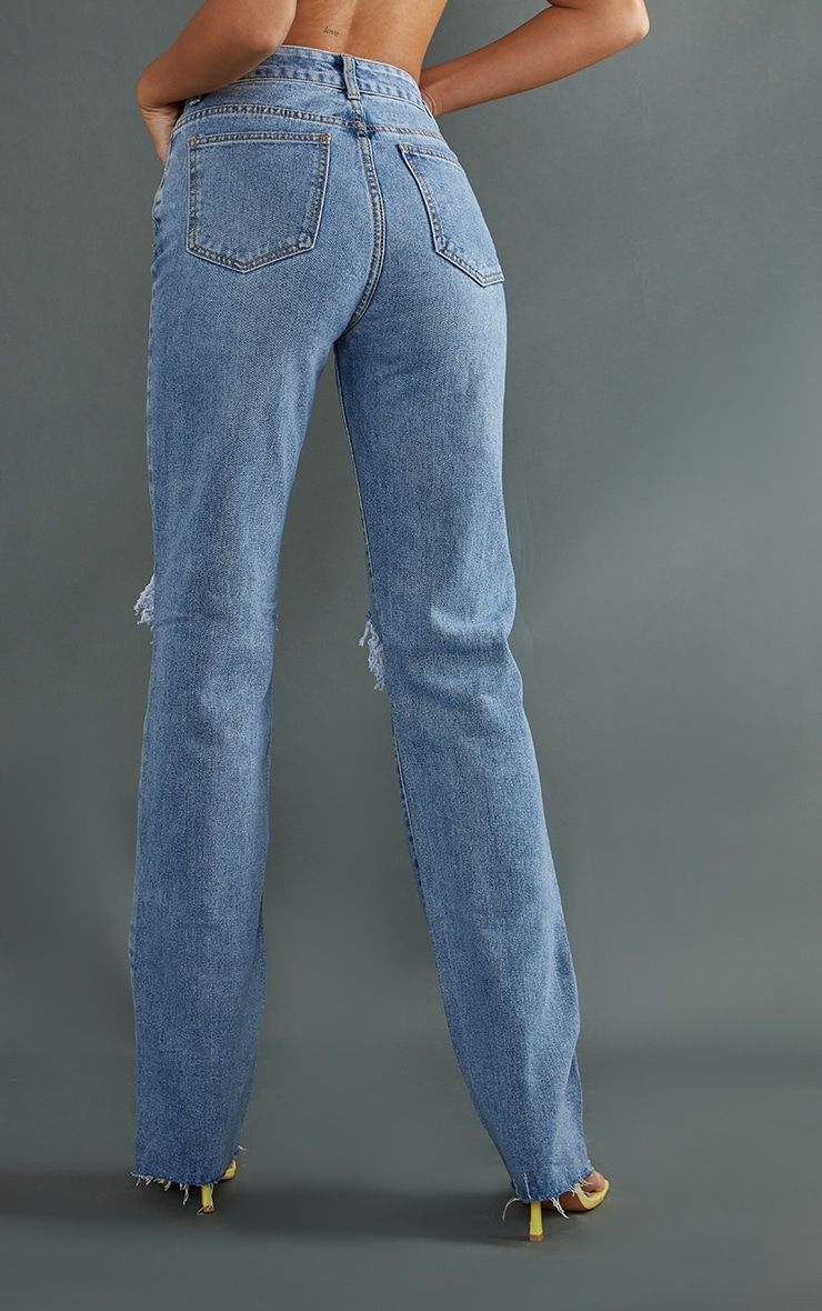 PRETTYLITTLETHING Tall Mid Blue Wash Ripped Long Leg Straight Jeans 3