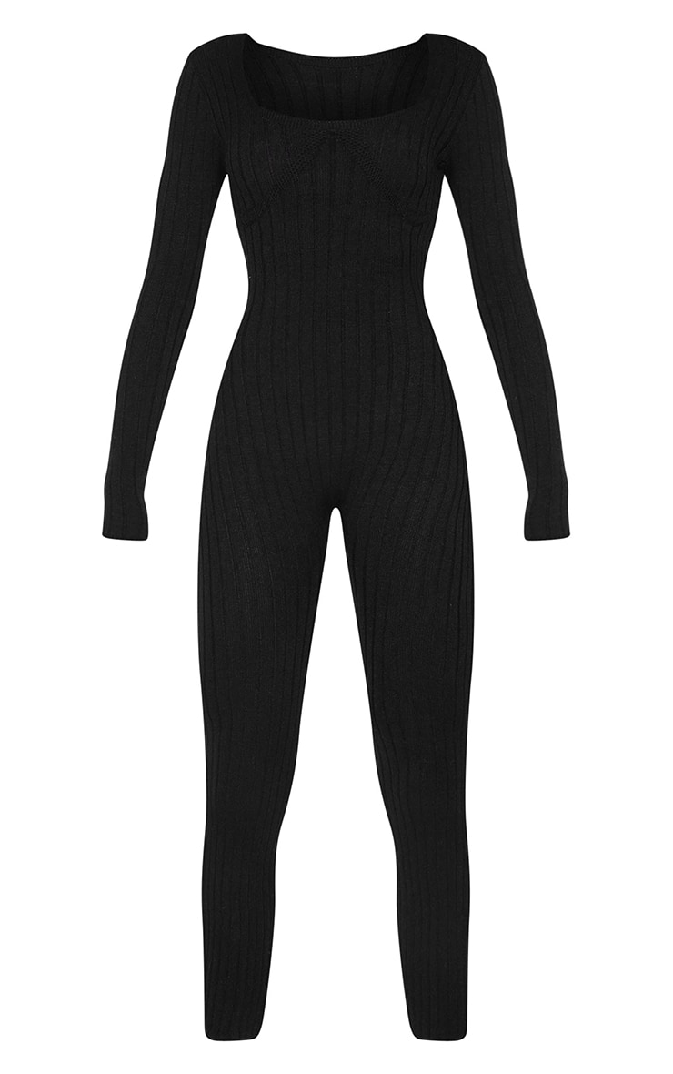 Black Bust Detail Ribbed Knitted Fitted Jumpsuit 5