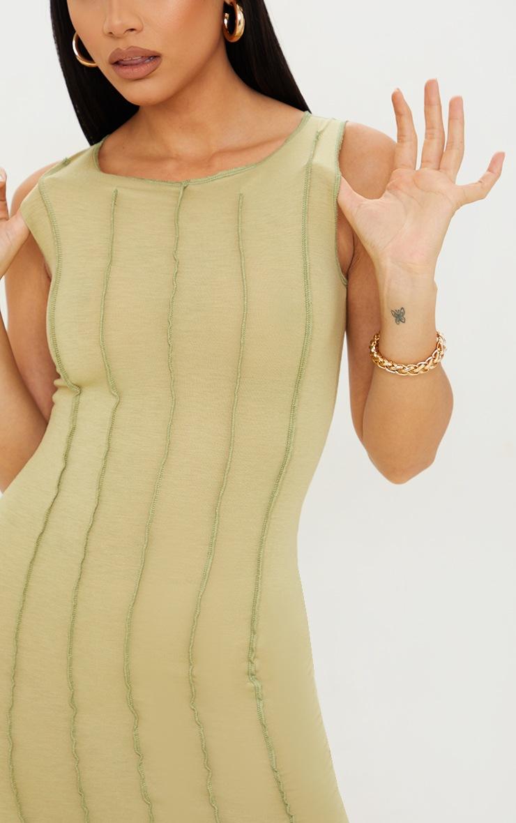 Olive Cotton Sleeveless Overlock Stitch Detail Midi Dress 4