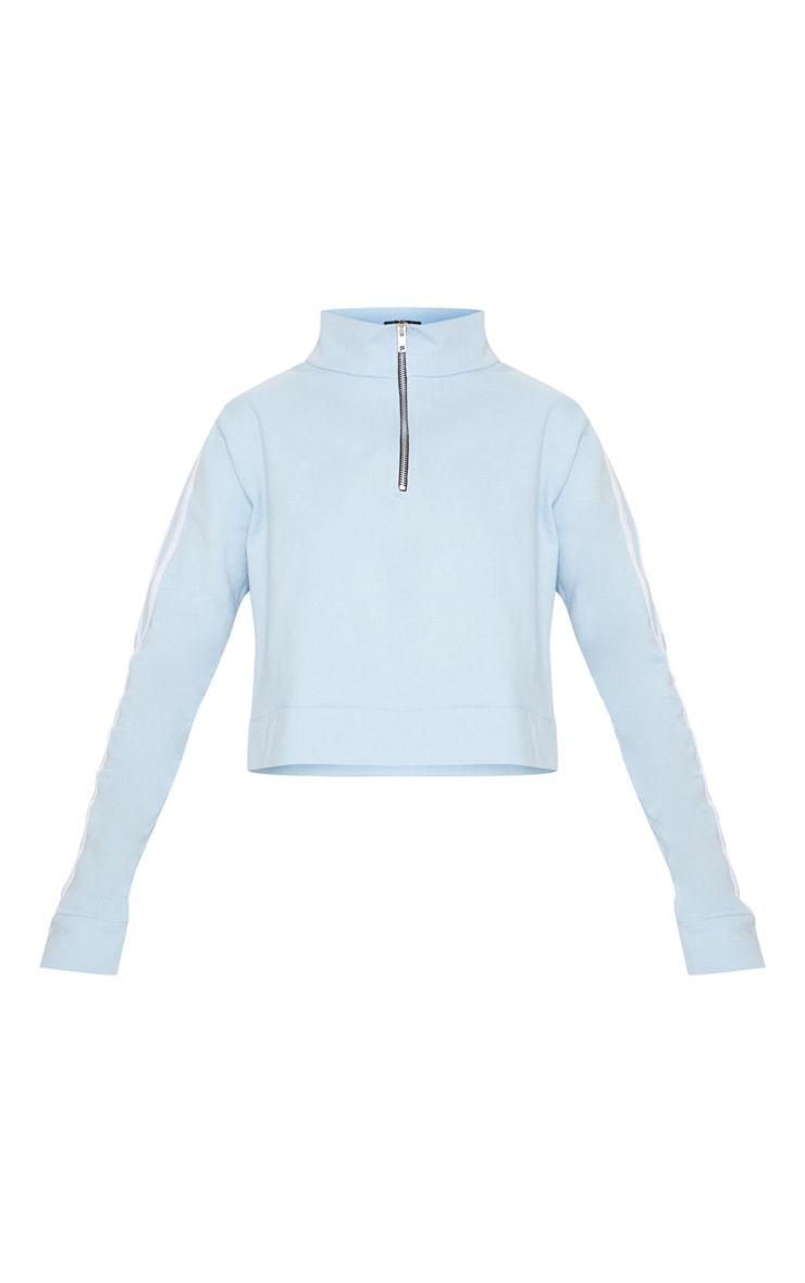 Pale Blue Contrast Stripe Cropped Zip Up Boyfriend Sweatshirt  3