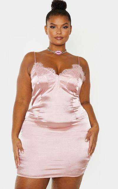 Plus Dusty Pink Lace Trim Bodycon Dress