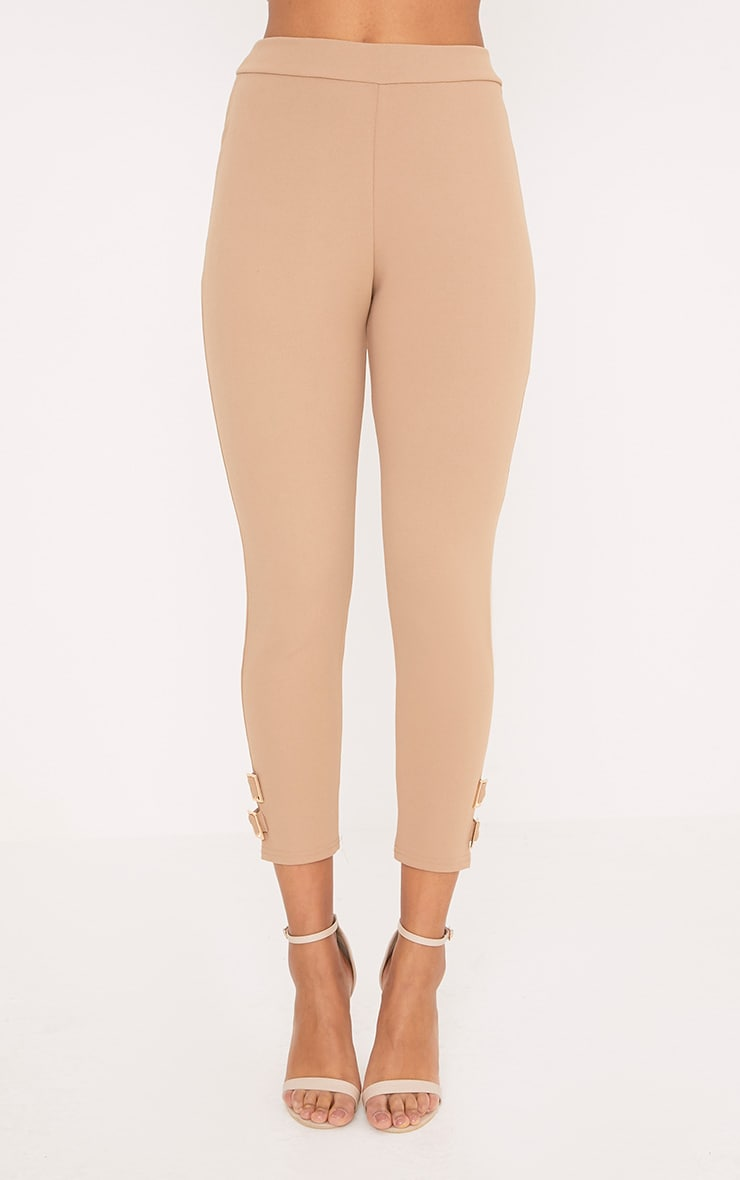 Orlane Taupe Buckle Fitted Trousers 2
