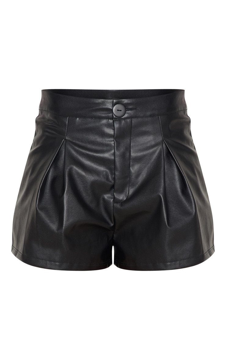 Black Faux Leather Pleat Front Short 3