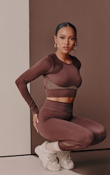 Chocolate Cut Out Seamless Long Sleeve Top 1