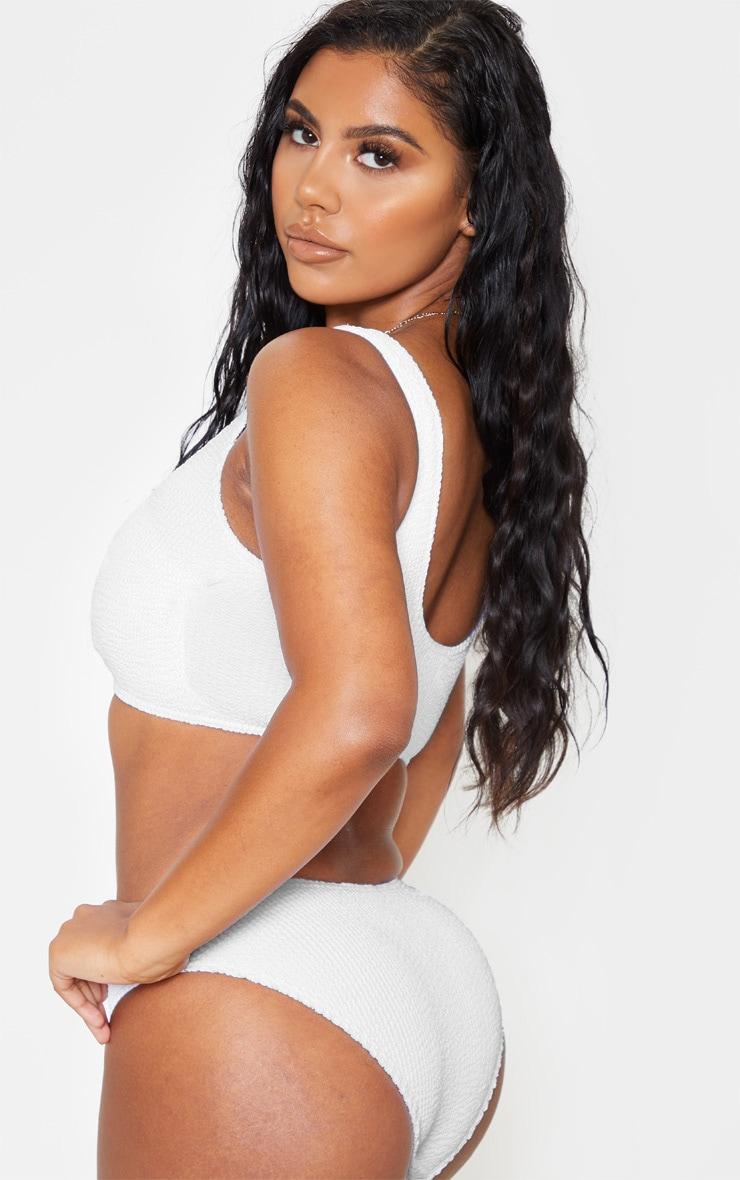 White Fuller Bust Crinkle Deep Scoop Bikini Top 2