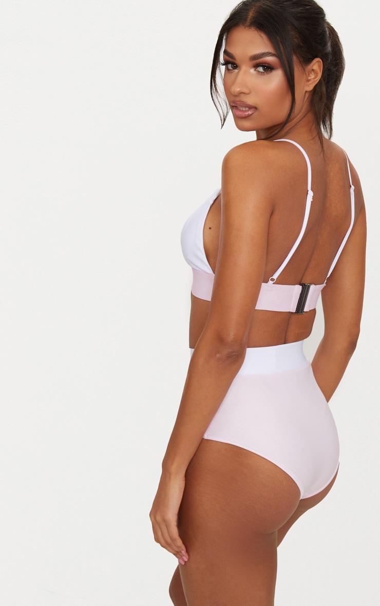 Lilac & White Contrast Beach Co-ord Bikini Top 2