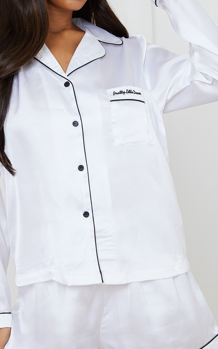 Pretty Little Dreams White Satin Long Shirt And Short PJ Gift Set 4