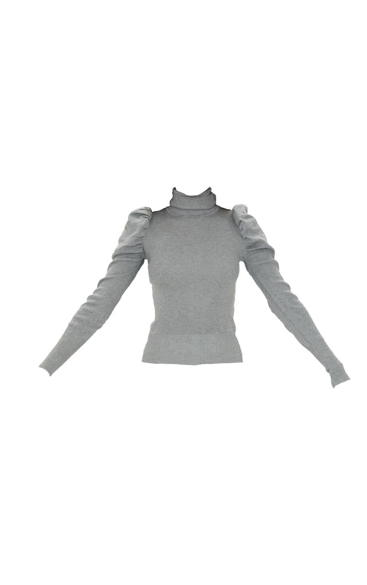 Grey Roll Neck Puff Shoulder Jumper 5