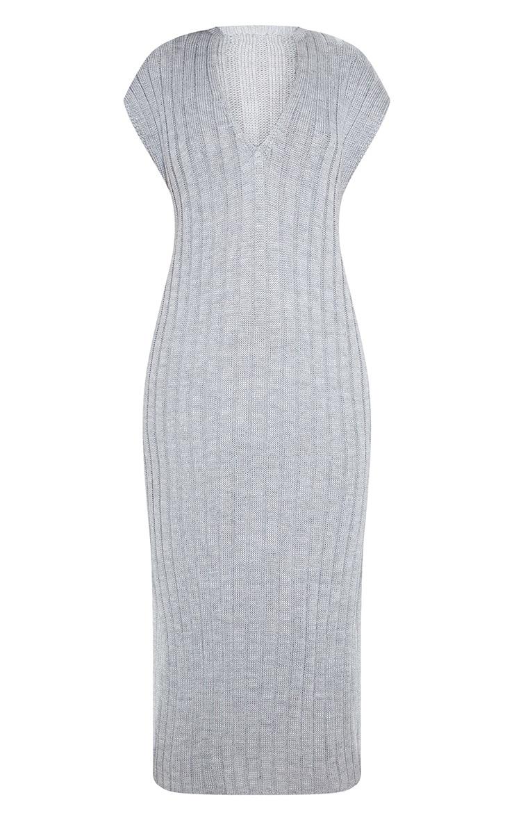 Grey Ribbed V Neck Midi Knitted Dress 4