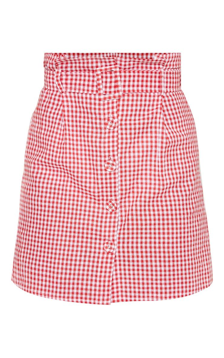 Petite - Mini-jupe imprimé vichy rouge à boutons 3