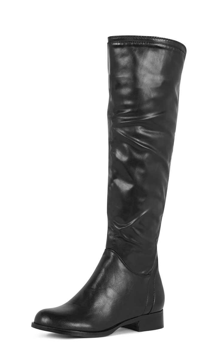 Karin Black Elasticated Knee Boot  4