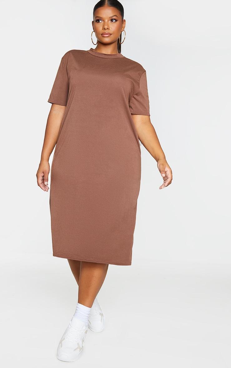 RECYCLED Plus Chocolate Midi T Shirt Dress 3