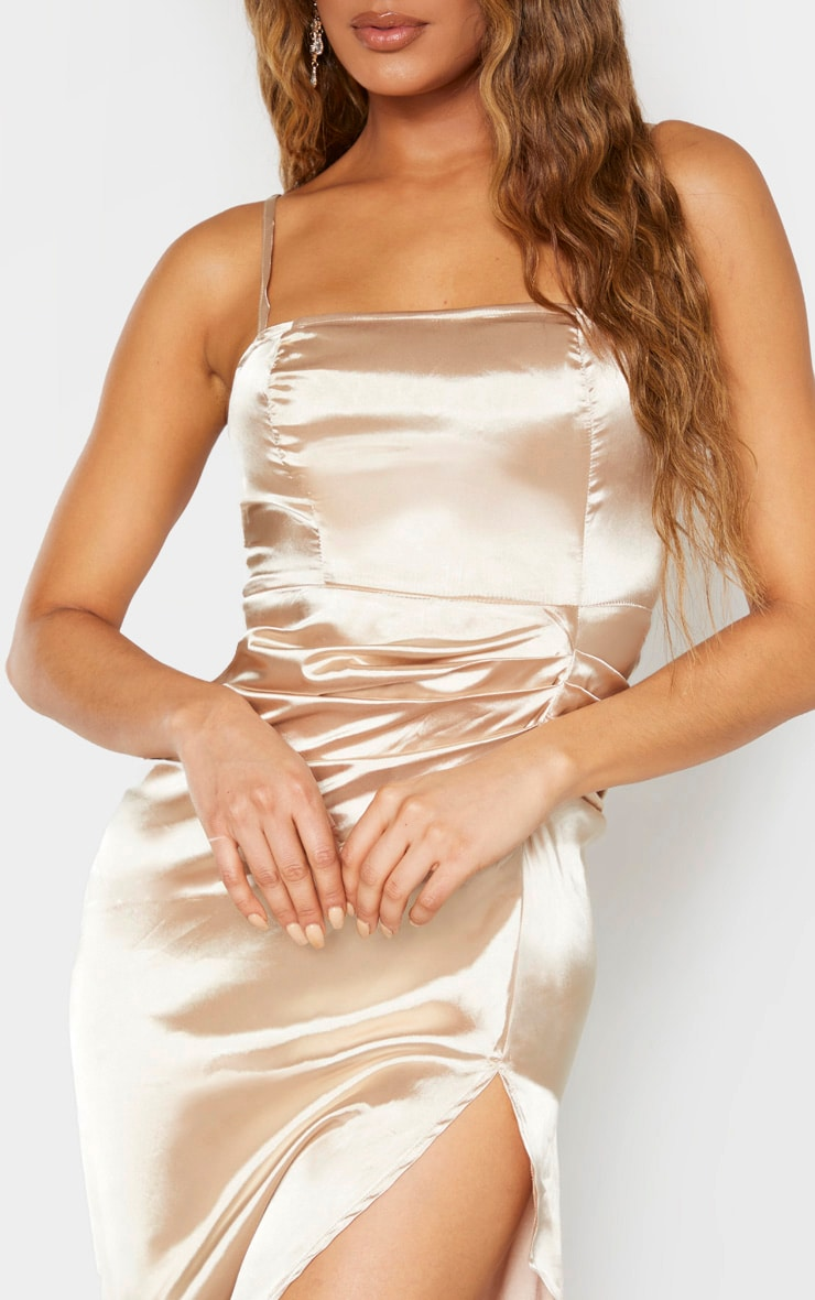 Tall Champagne Ruched Side High Split Satin Midi Dress 4