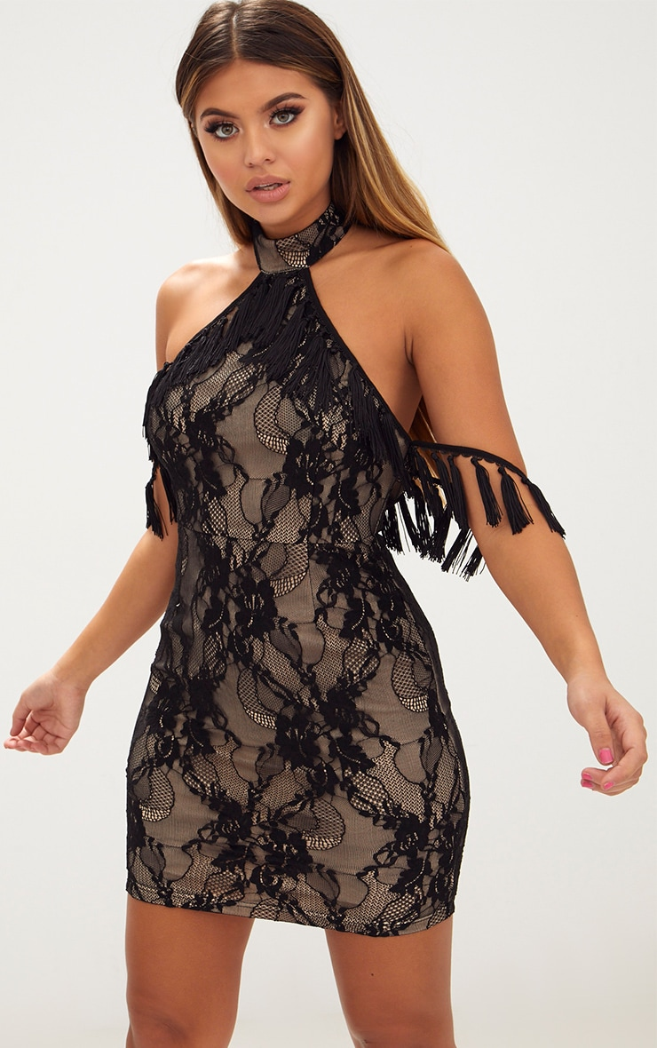 Black High Neck Tassel Detail Lace Bodycon Dress 1
