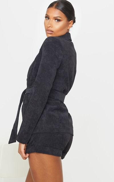 Black Cord Tie Waist Blazer Jacket
