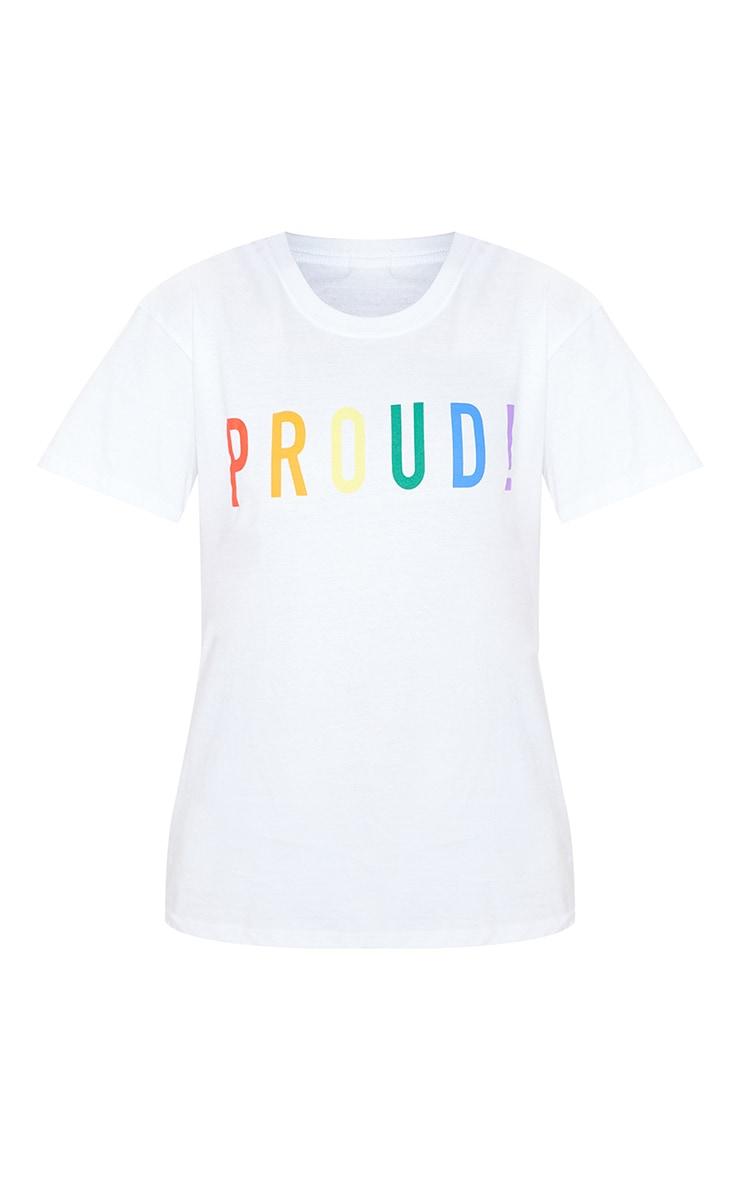 UNISEX White PROUD Oversized T-shirt  4