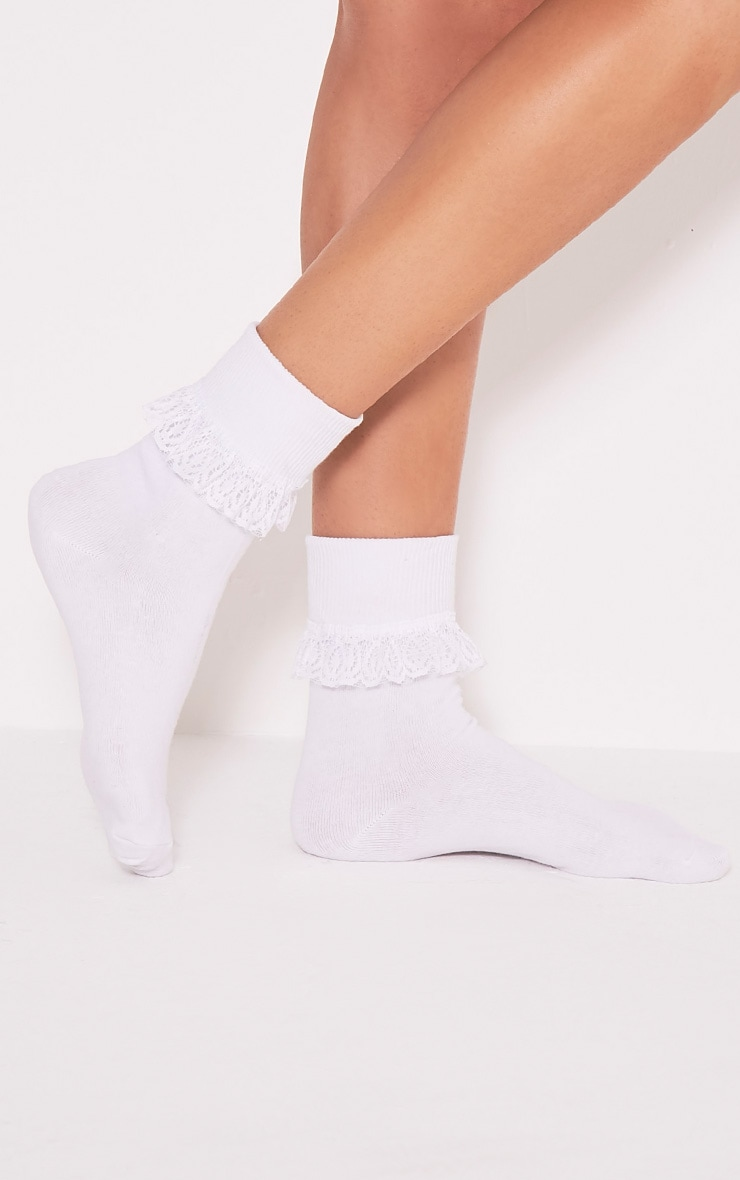 Kimber White Lace Trim Ankle Sock 3