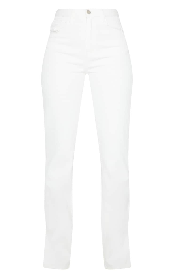 White Long Leg Split Hem Straight Jeans 5