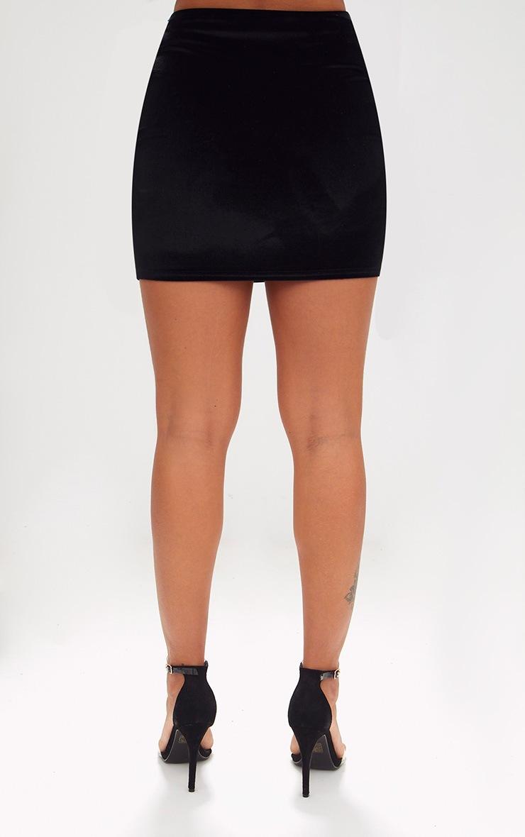 Black Velvet Bow Mini Skirt 4