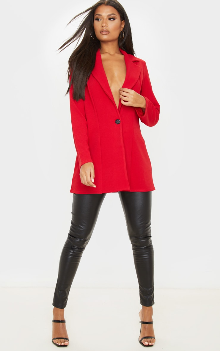 Red Oversized Boyfriend Blazer 1