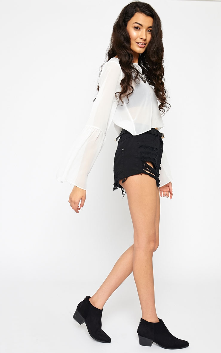 Evelin White Chiffon Drop Sleeve Top 3