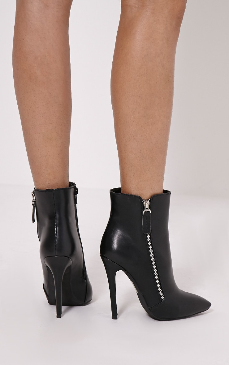 Soreenah Black Faux Leather Zip Detail Pointed Ankle Boots 2