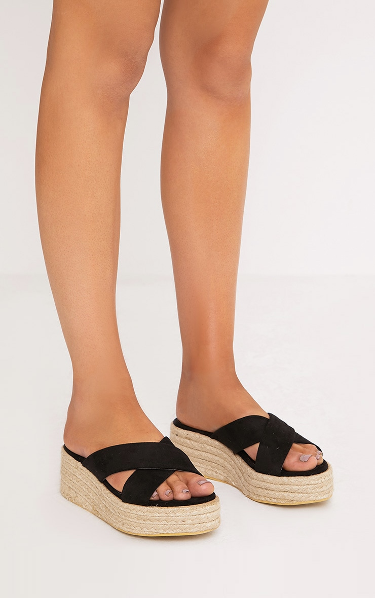 Liara Black Faux Suede Flatform Sliders 1