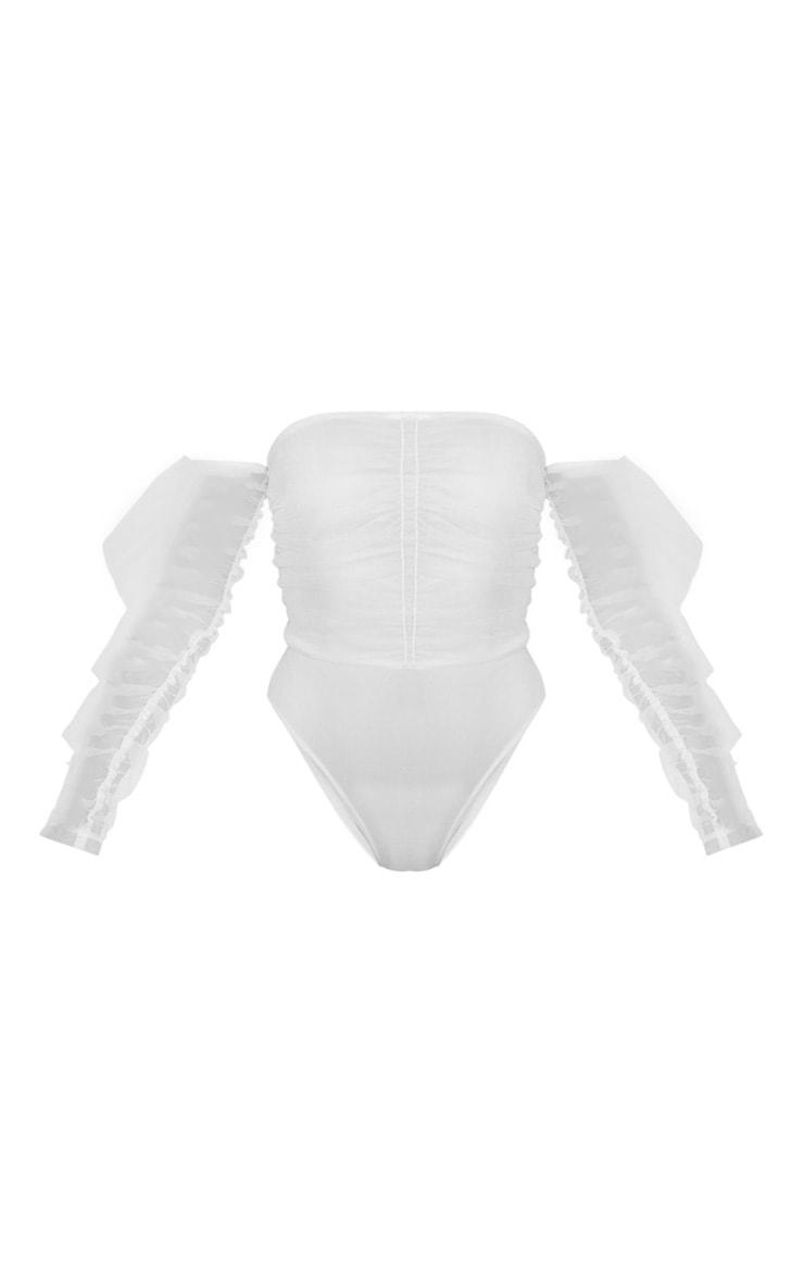 White Mesh Frill Sleeve Bardot Bodysuit 3