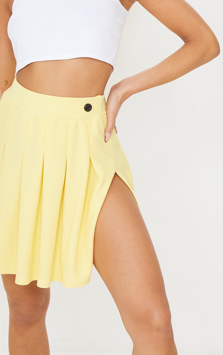 Lemon Yellow Pleated Side Split Tennis Skirt 5