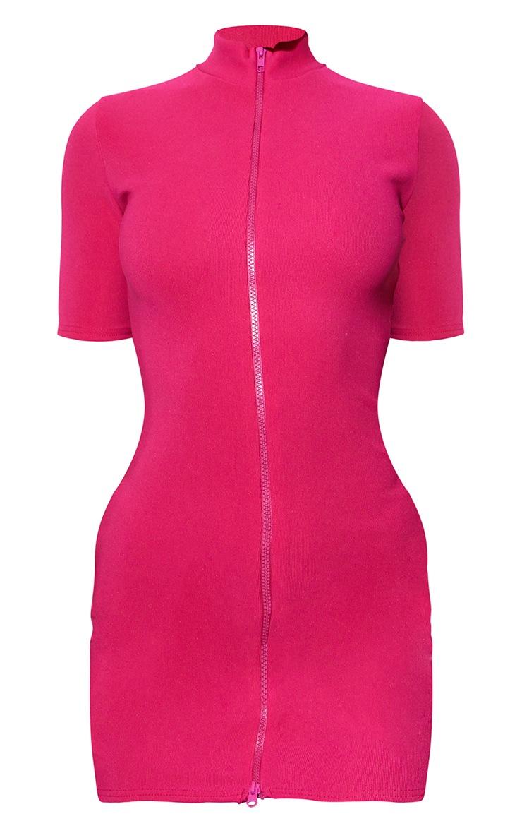 RENEW Pink Rib Double Zip Short Sleeve Bodycon Dress 5