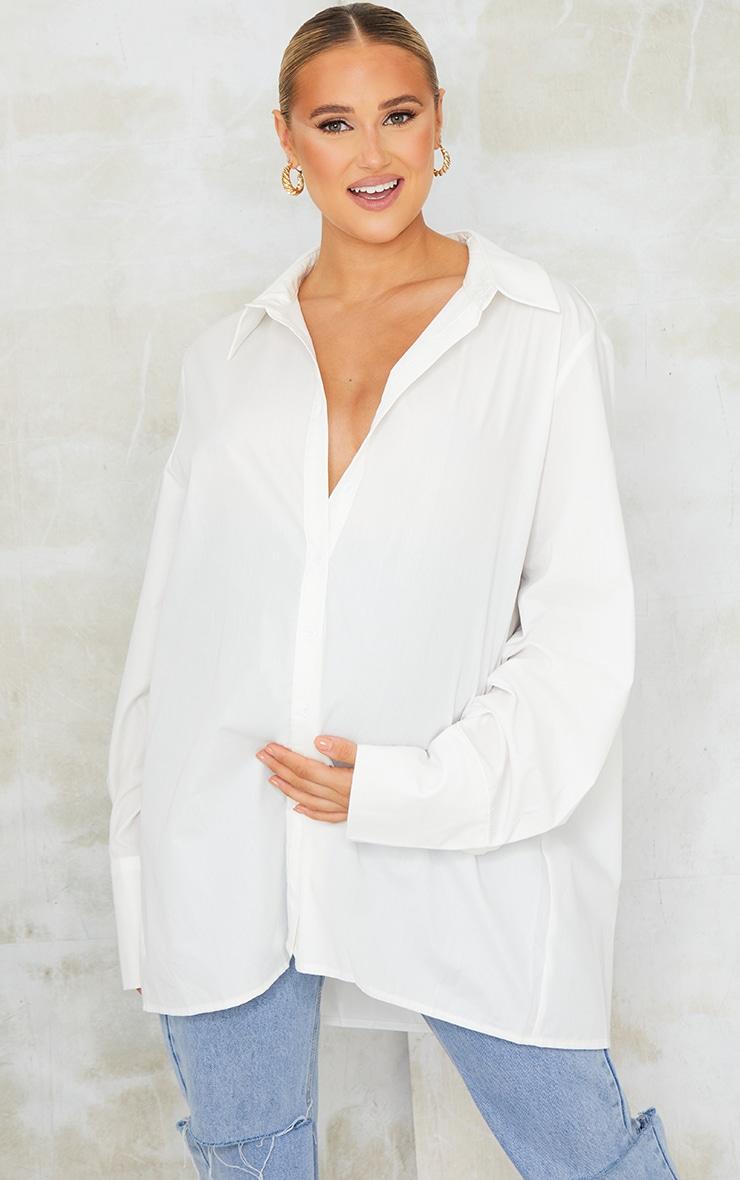 Maternity White Oversized Cuff Poplin Shirt 1
